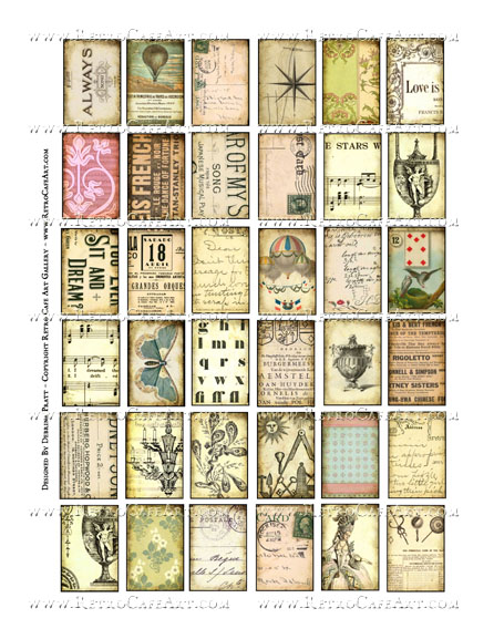 1 x 1.5 Inch Vintage Collage Sheet by Debrina Pratt - DP328