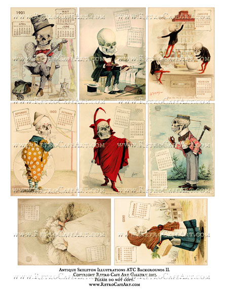 Antique Skeleton Illustrations ATC Backgrounds Collage Sheet II
