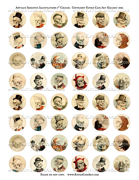 Antique Skeleton Illustrations 1 Inch Circles Collage Sheet