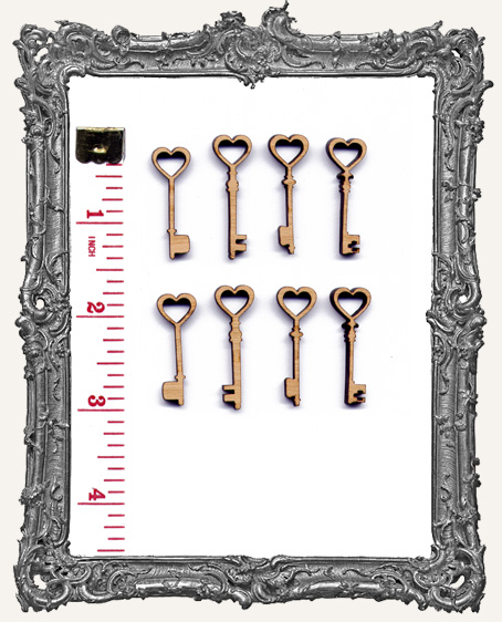Heart Skeleton Key Charms - Set of 8