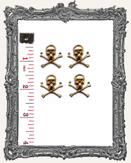 Brass Skull and Crossbones - Set of 4