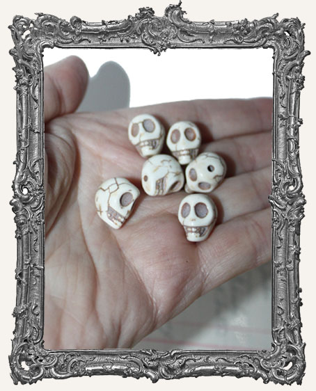 Carved Stone Ivory Skull Beads - Set of 6