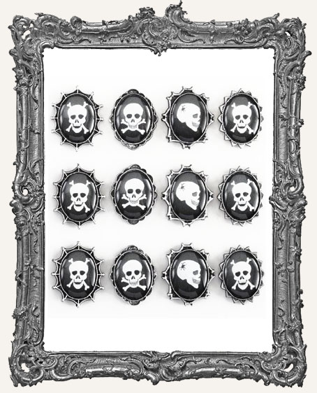 Skull Cameo Dimensional Resin Dome Embellishments - 12 Pieces