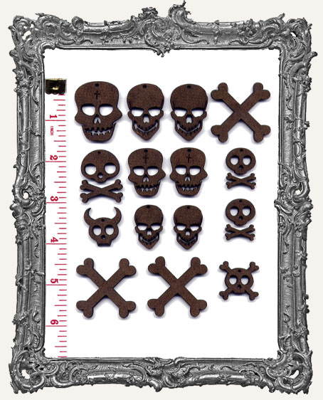 Skull and Crossbone Cut-Outs WITH CHARM HOLES - 18 Pieces