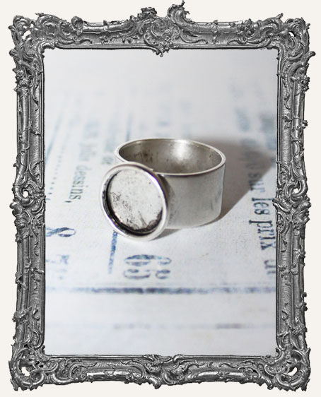 Shallow Welled SMALL CIRCLE Adjustable Ring Blank ANTIQUE SILVER