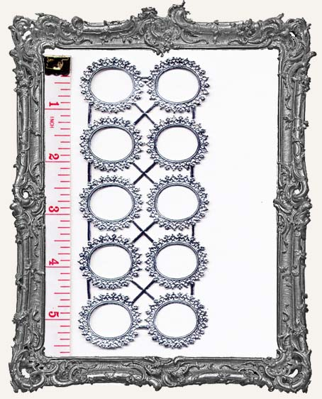 German Dresden Small SILVER Cameo Oval Frames 10 Piece