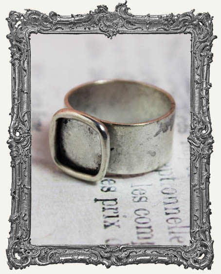 Shallow Welled SMALL SQUARE Adjustable Ring Blank ANTIQUE SILVER or STERLING SILVER