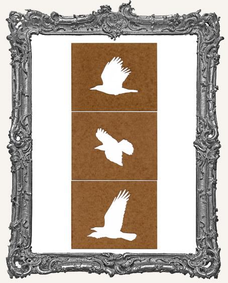 Medium Flying Crows - Set of 3 Stencils
