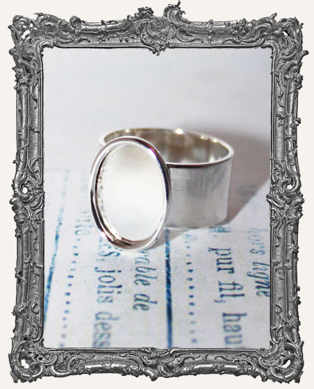 Shallow Welled SMALL OVAL Adjustable Ring Blank STERLING SILVER