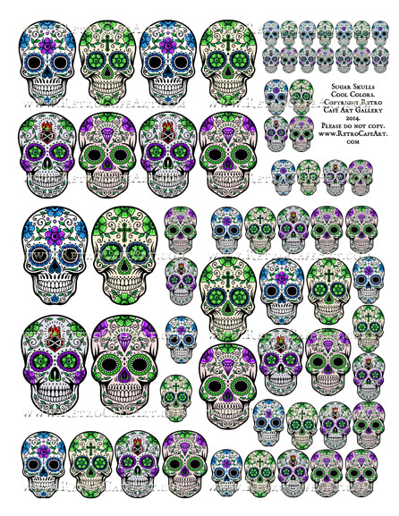Sugar Skull Collage Sheet - Cool Colors