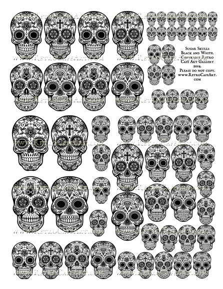 Sugar Skull Collage Sheet - Black and White