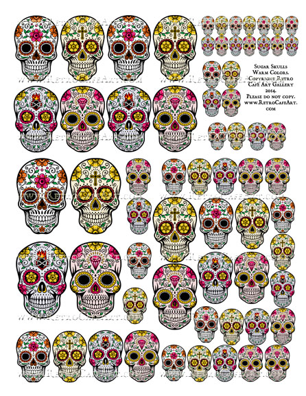 Sugar Skull Collage Sheet - Warm Colors