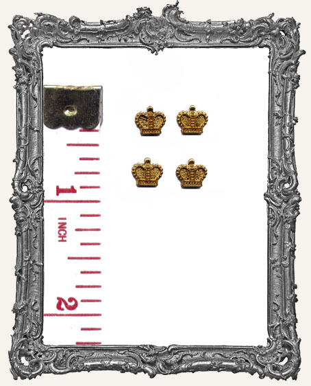 Teensy Tiny Brass Crowns - Set of 4