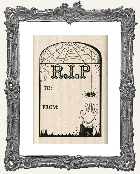 To From Tombstone Wood Mounted Halloweenn Stamp
