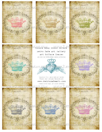 Vintage Candy Crowns ATC Backgrounds