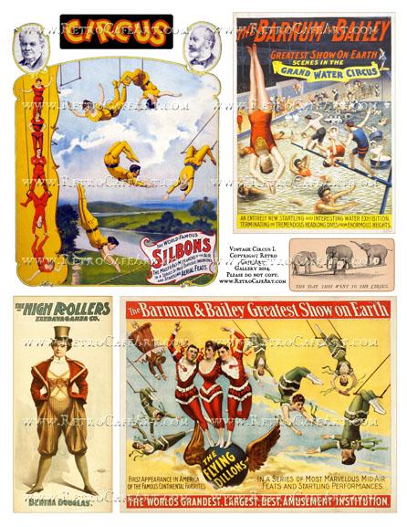 Vintage Circus I Collage Sheet