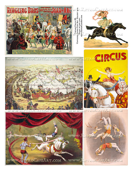 Vintage Circus III Collage Sheet