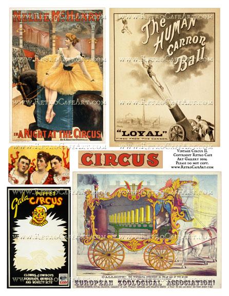 Vintage Circus II Collage Sheet