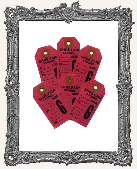 Vintage Shoe Tags Set of 6 - Red