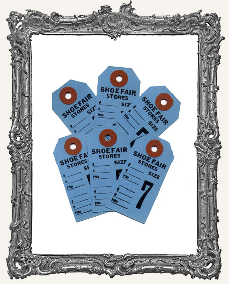 Vintage Shoe Tags Set of 6 - Blue