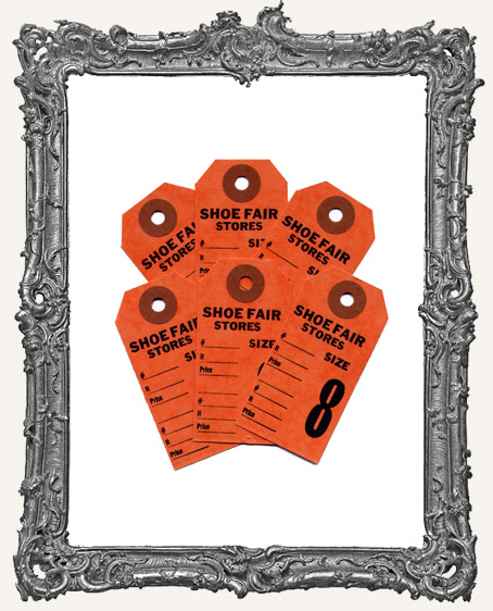 Vintage Shoe Tags Set of 6 - Orange