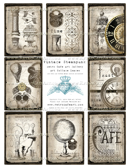Vintage Steampunk ATC Backgrounds