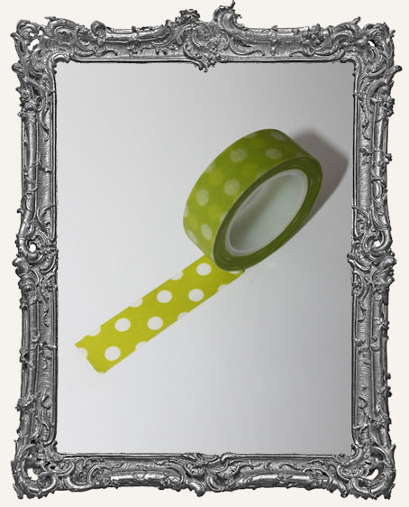 Washi Tape - Fresh Green with Big White Dots