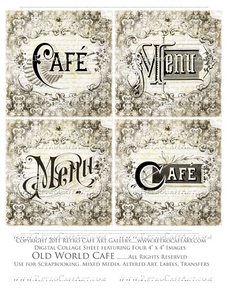 Old World Cafe Collage Sheet