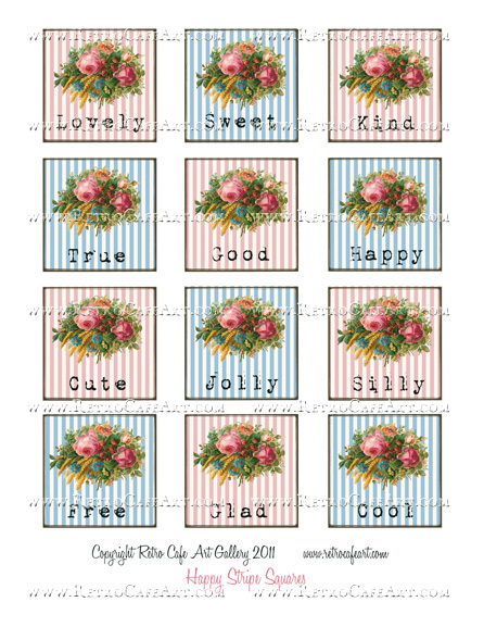 Happy Stripe Squares Collage Sheet