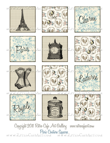 Paris Couture Squares Collage Sheet