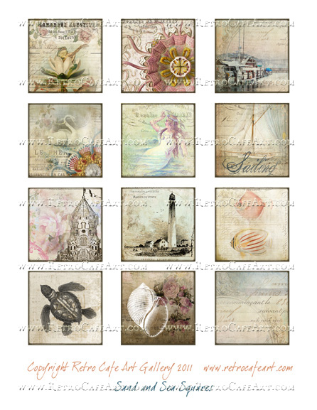 Sand and Sea Squares Collage Sheet