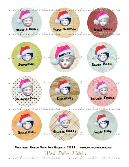 Word Dollie Christmas Circles Collage Sheet