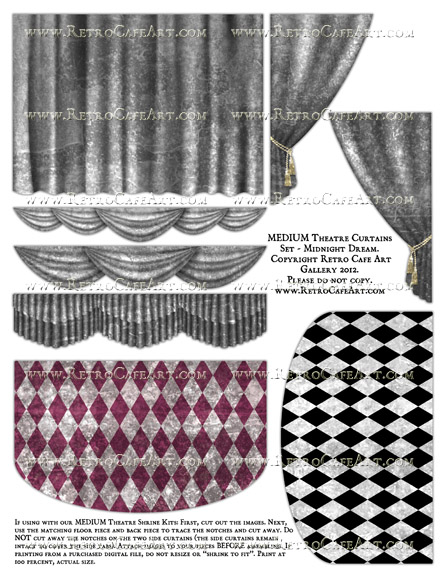 MEDIUM Theatre Curtains Set Collage Sheet - Midnight Dream
