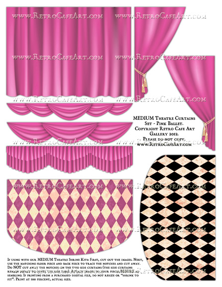 MEDIUM Theatre Curtains Set Collage Sheet - Pink Ballet