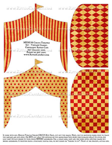 MEDIUM Circus Theatre Set Collage Sheet - Vintage Classic