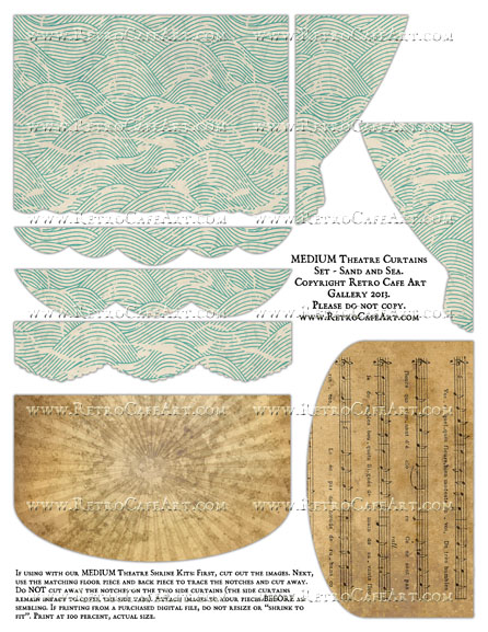 MEDIUM Theatre Curtains Set Collage Sheet - Sand and Sea