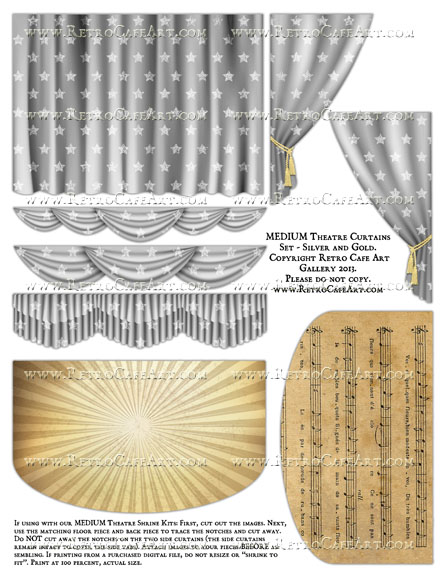 MEDIUM Theatre Curtains Set Collage Sheet - Silver and Gold