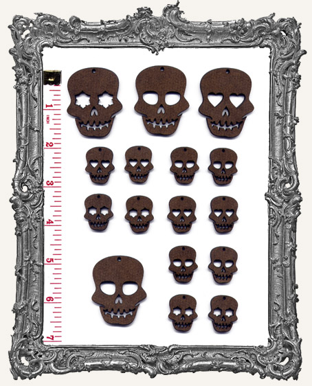 Sugar Skull Cut-Outs WITH CHARM HOLES - 16 Pieces