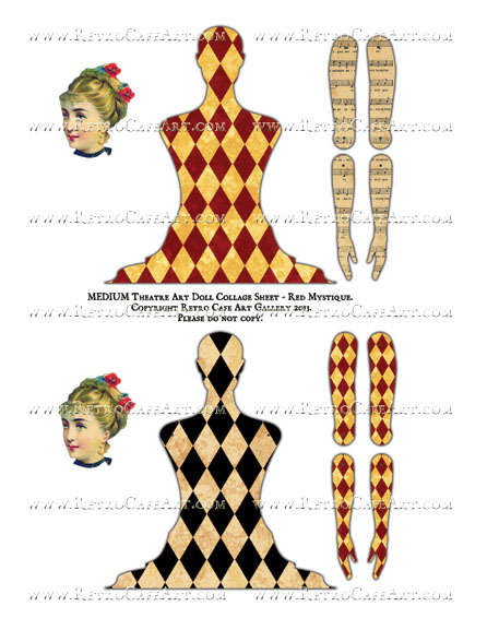 MEDIUM Theatre Art Doll Collage Sheet - Red Mystique