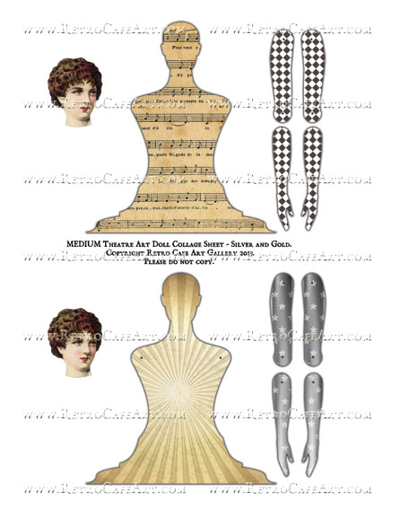 MEDIUM Theatre Art Doll Collage Sheet - Silver and Gold