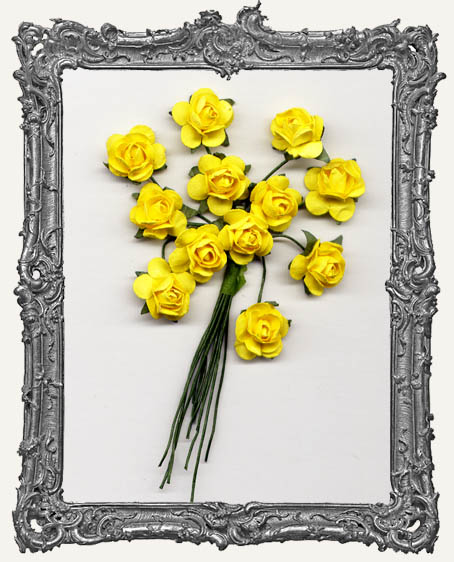 Sunshine Yellow Mini Paper Roses - 12